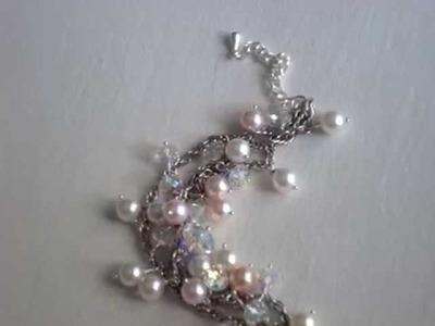Swarovski crystal and pearl bracelet cluster style