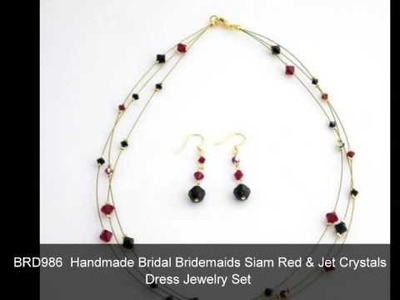 Swarovski Crystal Dress Jewelry Double Three Stranded Necklace Set