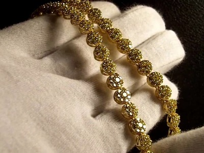Custom Canary Sim. Diamond Cluster Chain.Bracelet Gucci Mane Lemonade Jewelry Connect Lab