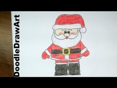Drawing: How To Draw a Cute Cartoon Santa Claus - Easy step by step drawing lesson for beginners