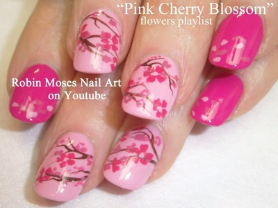 Easy Pink Cherry Blossom Nail Art Tutorial
