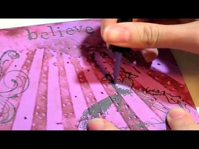 Girl card Tim Holtz Rays embossing folder