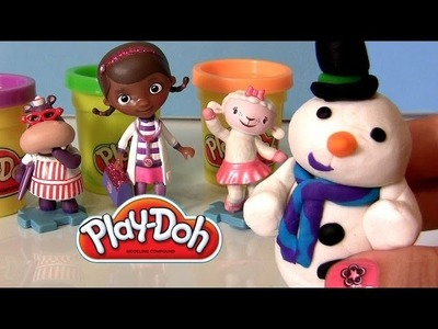 Play Doh Doc McStuffins How-to Make Snowman Chilly Doctor Dottie DisneyPlaydough
