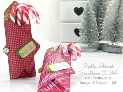Pootles Advent Countdown Candy Cane Envelope Punch Board Holder Tutorial