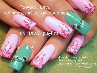 2 Nail Art Tutorials   Long Nail Design   Pink and Teal Henna  Nails