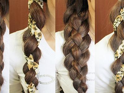 4-Strand Braid Hair Tutorial (Woven Braid + 3D Round Braid)