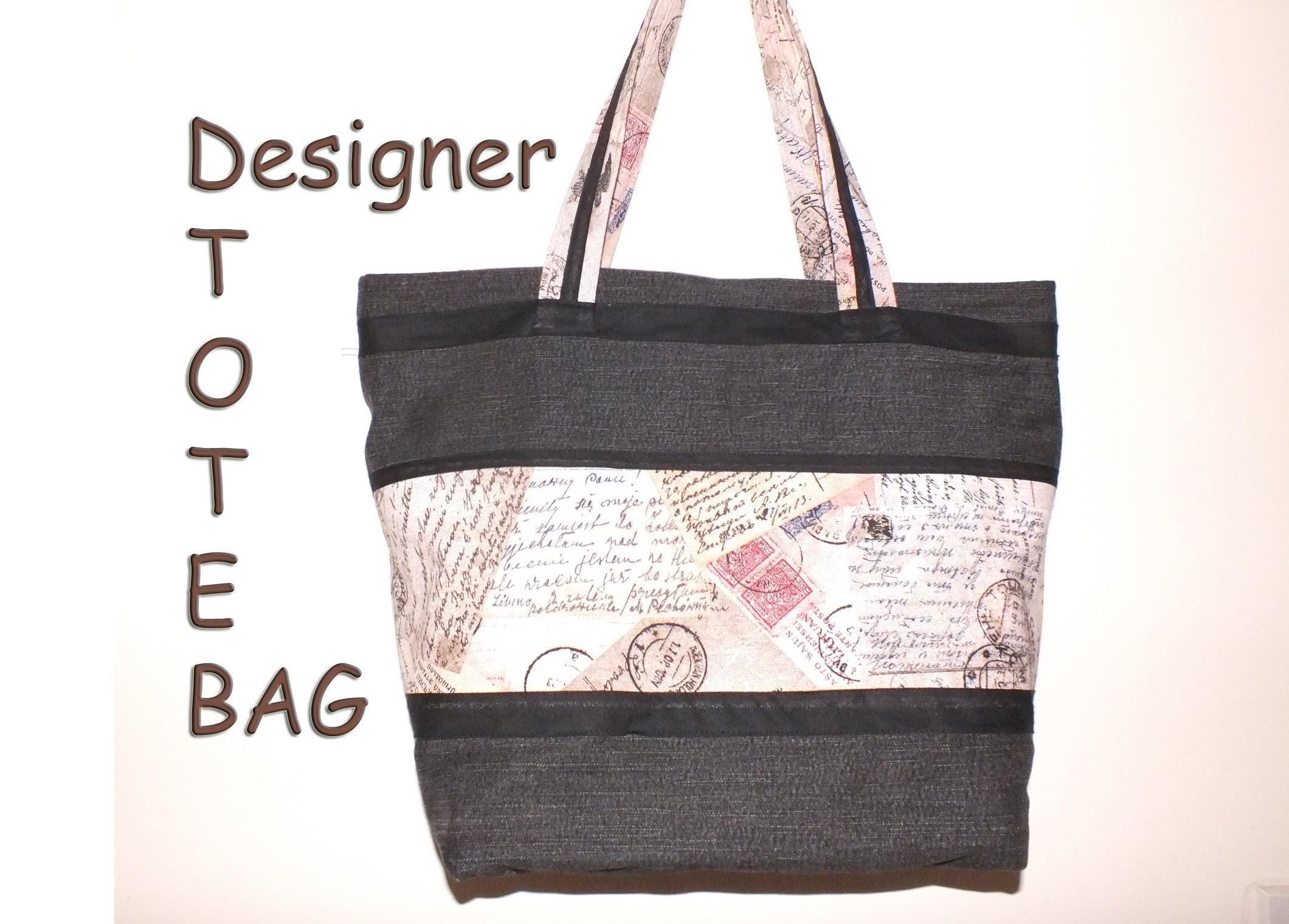 Designer tote bag. Recycled jeans. with zip closure.DIY Bag Vol 8