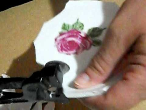Mosaic Tile Tutorial: How to cut tiles and center focals from a dish using wheeled nippers