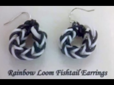 *New* Video~38~  How to make Rainbow Loom Fishtail Earrings