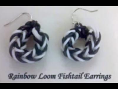 *New* Video~38~  How to make Rainbow Loom Fishtail Earrings