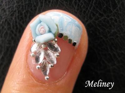 No Water Marble Nails French Tip - Crystal Rose Flower Nails Bridal Wedding Nail Art Design