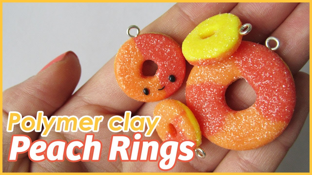 Tutorial: Gummy Peach Ring charms w. polymer clay