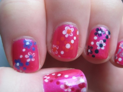 Easy Small Summer Flowers, Beginners Nail Art on Short Nails