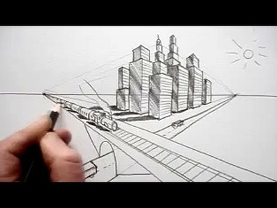 How To Draw In Perspective: Road, Railway, Train, City