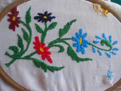 HOW TO EMBROID  LEAVES USING HERRINGBONE STITCH - TUTORIAL