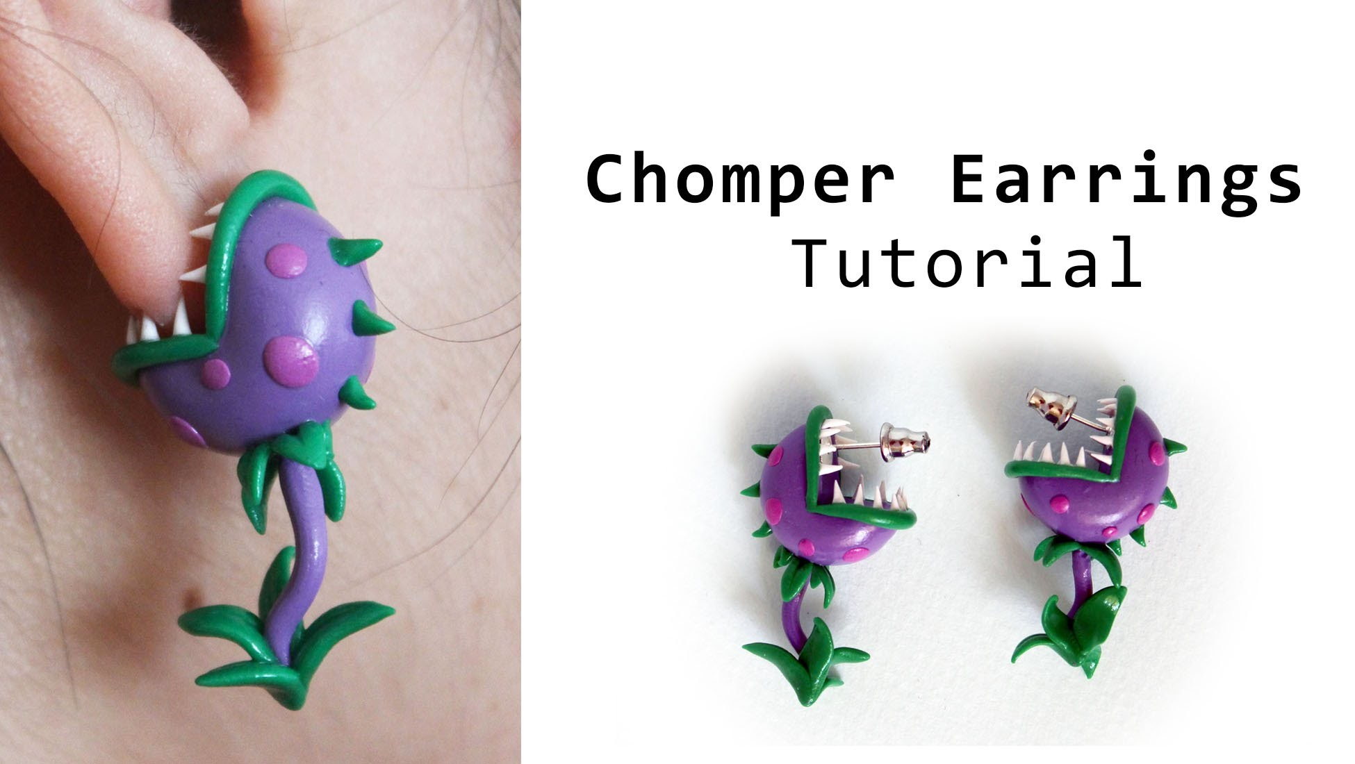 Plants vs Zombies Chomper Earrings Polymer Clay Tutorial