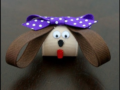Puppy hair clip.hairbow (How to make a puppy dog hair clip)