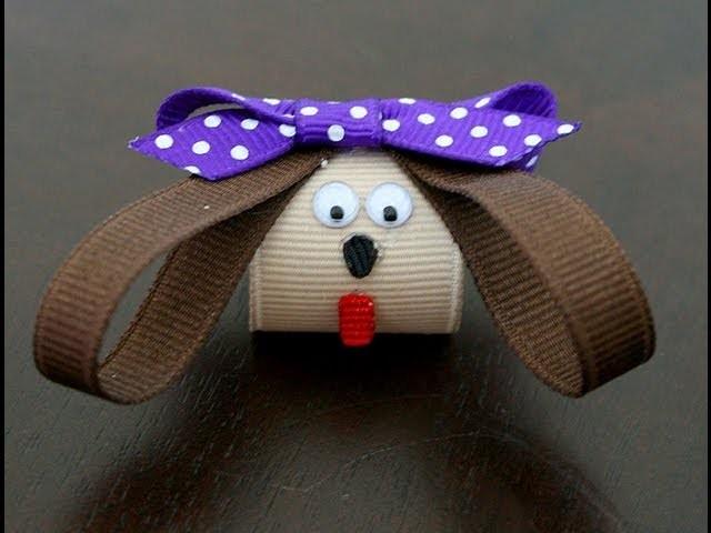 Puppy hair clip.hairbow (How to make a puppy dog hair clip)