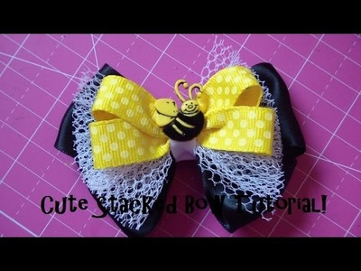 "Bow How To: Cute Simple Stacked Hairbow! Ft. Bowdabra (about 3 1.2"")"