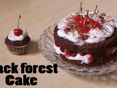 Cherry Chocolate. Schwarzwald. Black Forest Miniature Cake - Polymer Clay Tutorial