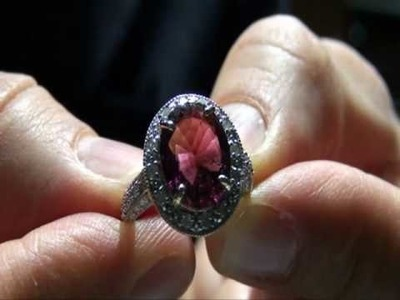 Circa 1920's Estate 5.50 Carat Pink Tourmaline & Diamond Ring 14k Gold Auctioned $1 NO RESERVE