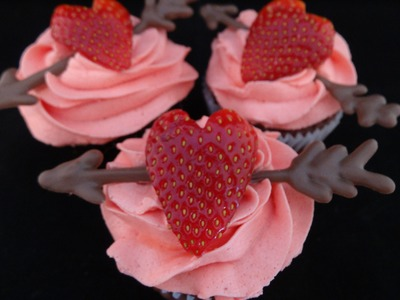 Decorating Cupcakes #124: Valentine Strawberry Heart Cupcakes With Kool-Aid Frosting