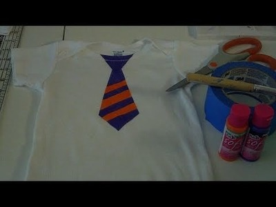 How to Make an Easy Stenciled Necktie Onsie or  T-shirt Using Painter's Tape Day 4