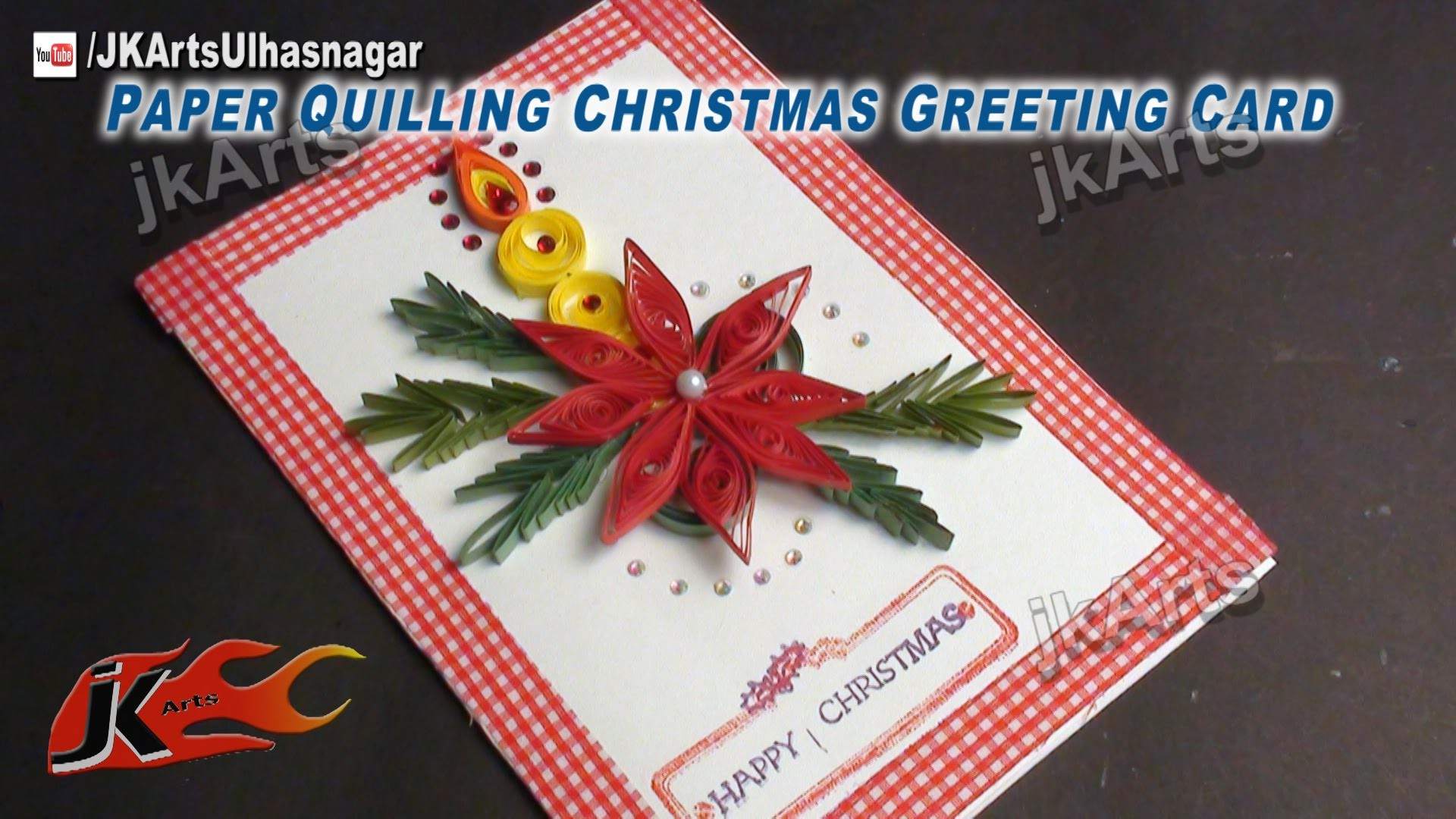 How To Make Paper Quilling Christmas Candle Greeting Card