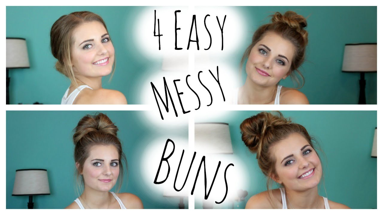 NO HEAT HAIRSTYLES: 4 Easy Messy Buns!| HauteBrilliance