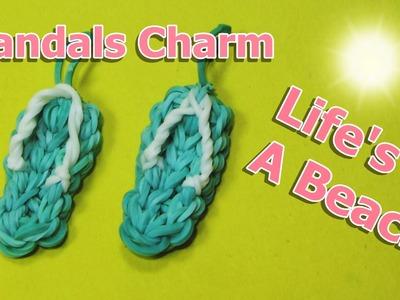 Rainbow Loom Charms: SANDALS. FLIP FLOPS (crazy loom. bands. fun loom)