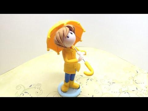 Umbrella Boy.Menino do guarda-chuva - Polymer clay.Fimo