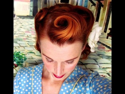 Victory Rolls on Short (Bobbed) Hair. 1940's Reverse Rolls Hairstyle