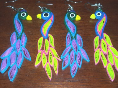 55. Quilling Peacock Earrings Tutorial New Design