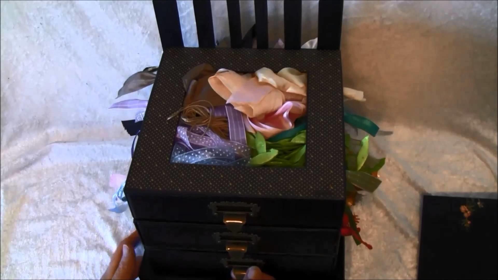Graphic 45 Bird Song. May Art ribbon storage box and bow creator - Tutorial