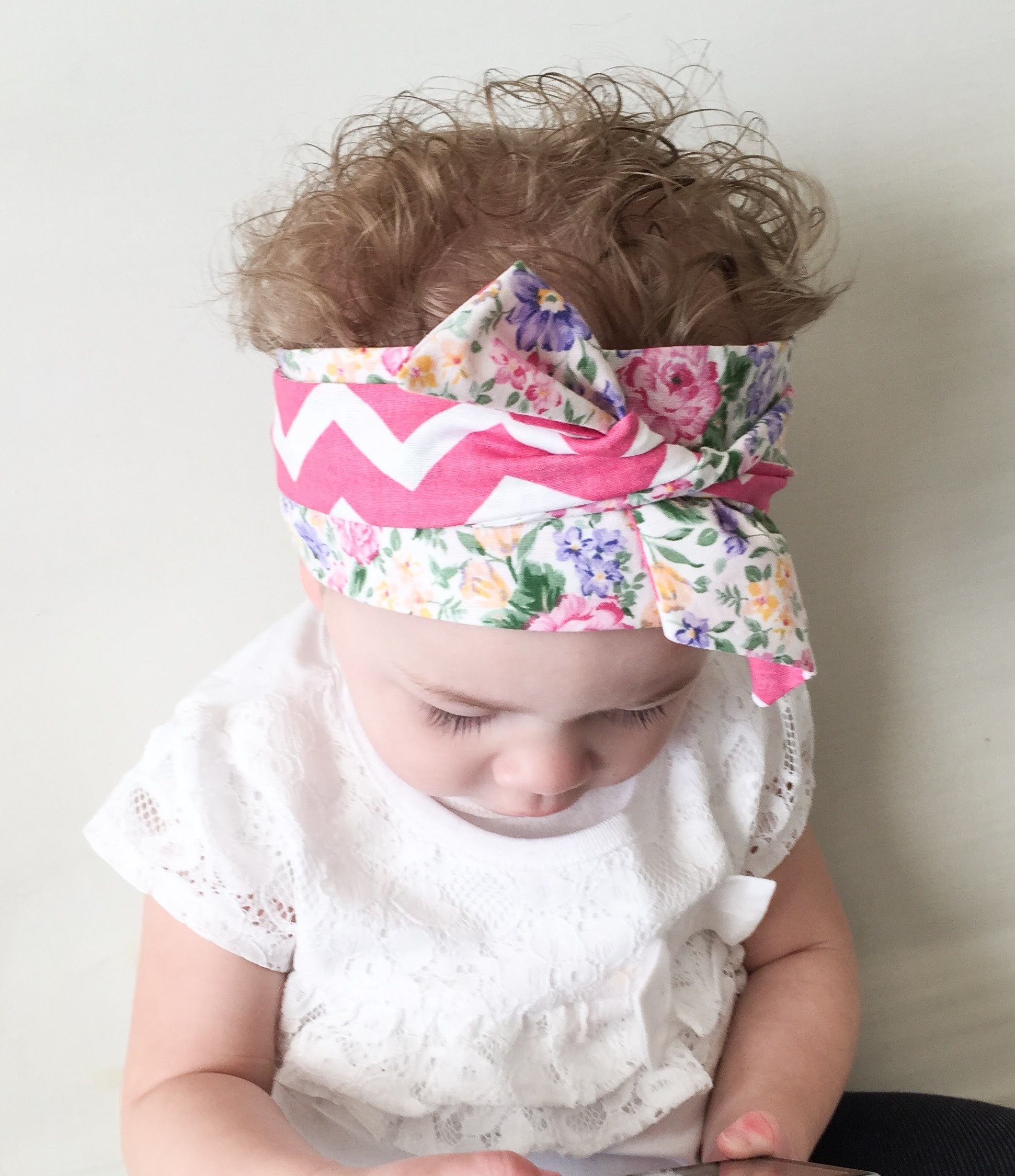 """Headwrap Tutorial: How to tie a baby Headwrap """"twice with a knot"""" style."""