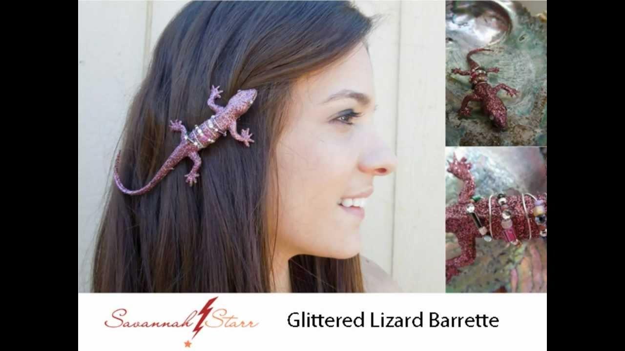 How to Make a Glittered Lizard Barrette
