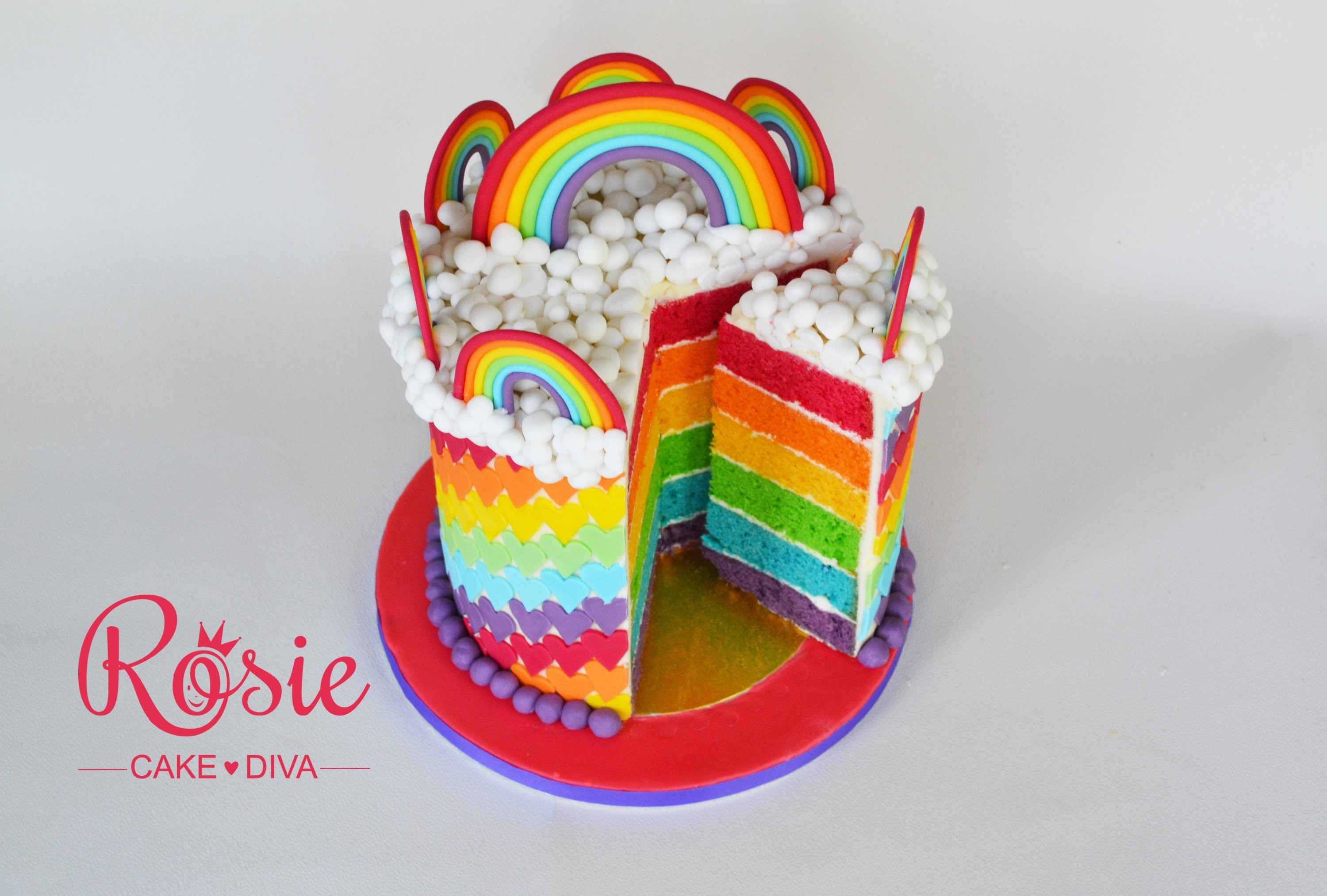 How to make a Rainbow Layer Cake - Layering and stacking a cake with buttercream