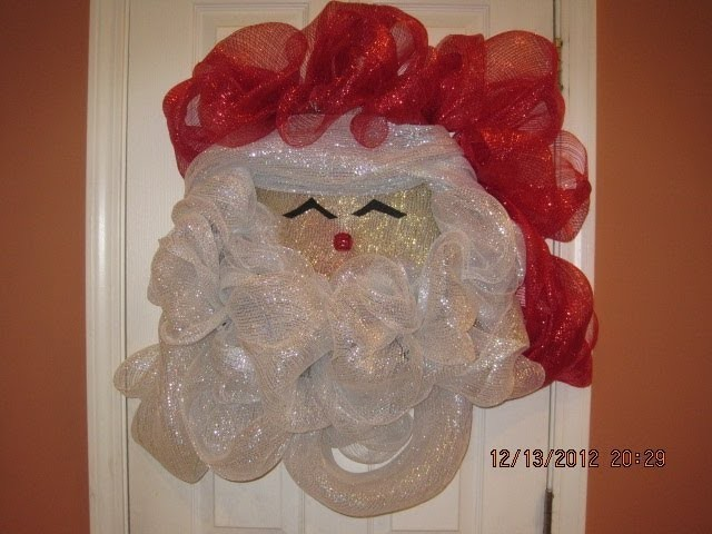 How to make your own Deco Mesh Santa Wreath