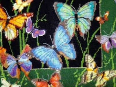 Needlepoint Butterfly Pillow at www.abullrun.com