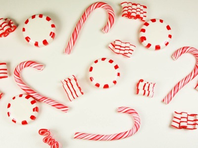 Polymer clay Christmas Candies(candy cane.peppermint candy.ribbon candy) TUTORIAL + collab news!
