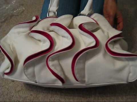 Ruffle Fashion Leather Handbag-White&Pink