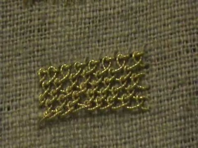 Single Detached Buttonhole aka Brussels Stitch Using Gold Thread