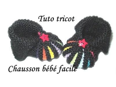 TUTO TRICOT CHAUSSON BEBE FACILE AU TRICOT POINT DE GODRON