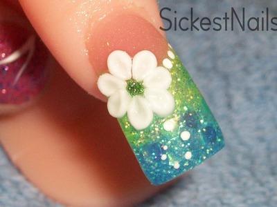 Acrylic Nail Design: Aqua Color Fade with 3d flower
