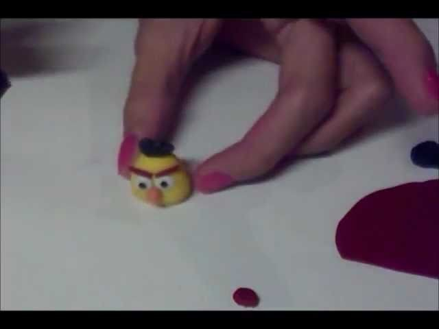 Angry bird yellow fimo. polymer clay tutorial