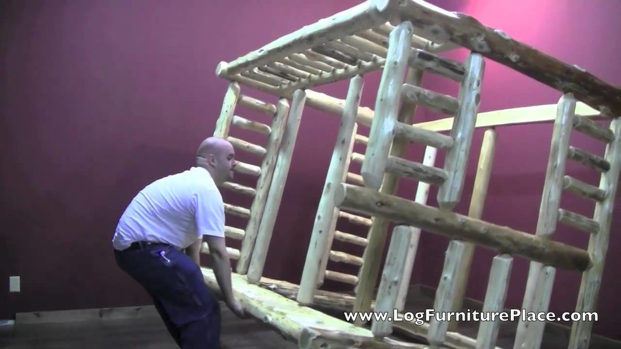 Full over Queen Log Bunk Bed Assembly | How To Assemble Log Bunk Bed
