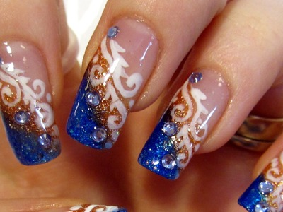 Glittery Blue and Copper Tips White Swirls and Rhinestones Design Nail Art Tutorial