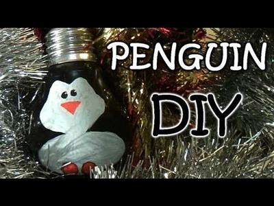 Homemade Christmas Ornaments - Penguin from Light Bulb