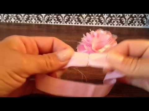How to make Fold over elastic Flower baby headband