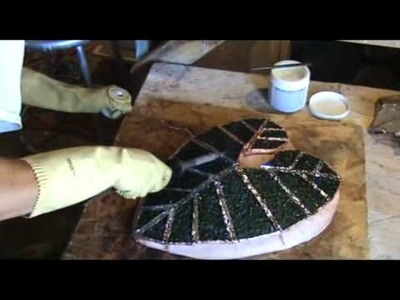 How to make fused and soldered recycled glass - alocasia lamp